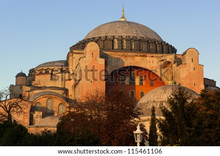 Hagia Sophia, a former Orthodox patriarchal basilica, later a mosque and now a museum in Istanbul at sunset - stock photo
