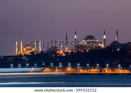 Hagia Sophia and Blue Mosque. Istanbul, Turkey - stock photo