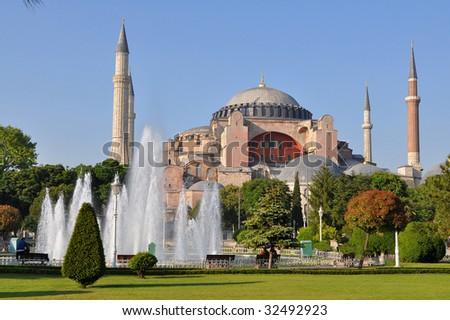 Hagia Sophia at sunset,Istanbul,Turkey, - stock photo