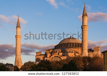 Hagia Sophia caught in the dying rays of the sun - stock photo