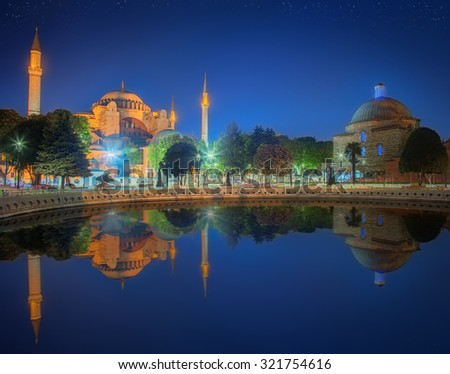 Hagia Sophia in Istanbul, Turkey early at the night. - stock photo