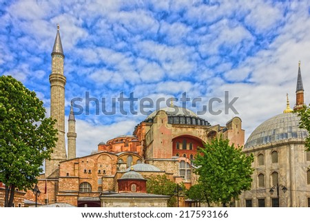Hagia Sophia in Istanbul, Turkey - greatest monument of Byzantine Culture. - stock photo