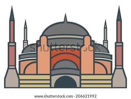 Hagia Sophia, Istanbul - simple icon - stock photo