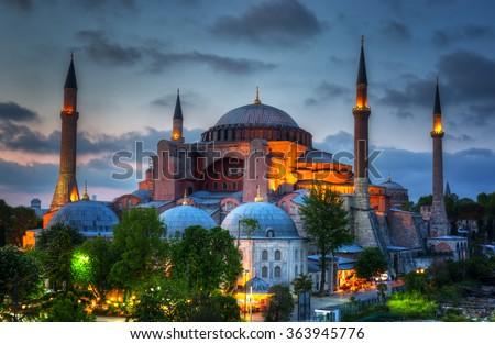 Hagia Sophia on a sunset, Istanbul - stock photo