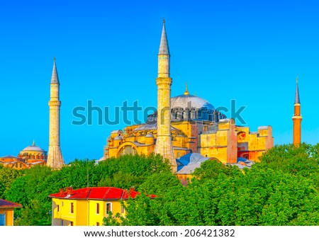 Hagia Sophia, the famous church, landmark of Istanbul in Turkey - stock photo