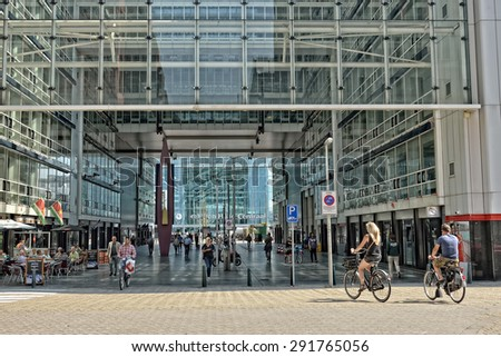 HAGUE, NETHERLANDS-AUGUST 01, 2014: People walking through The Hague Central railway station or Den Haag Centraal