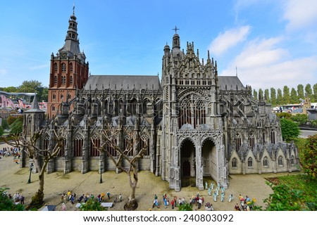 HAGUE - SEPTEMBER 19: Scaled replica of Cathedral Church of Saint John at Madurodam minature park, taken on September 19, 2014 in Hague, Netherlands