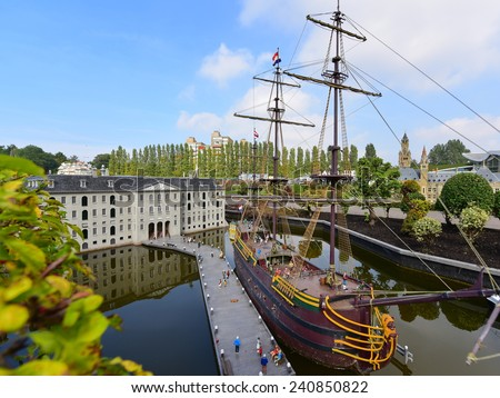 HAGUE - SEPTEMBER 19: Scaled replica of The Amsterdam (VOC ship), an 18th century cargo ship, taken on September 19, 2014 in Hague, Netherlands - stock photo