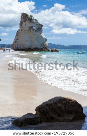 HAHEI, NEW ZEALAND - FEBRUARY 9 : Cathedral Cove beach near Hahei in New Zealand on February 9, 2012. Unidentified people