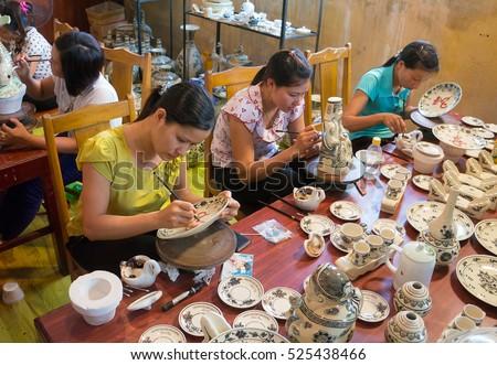 HAI DUONG, Vietnam, July 25, 2016 portrait, woman (name unknown), a worker, Chu Dau pottery, Hai Duong Province, Vietnam