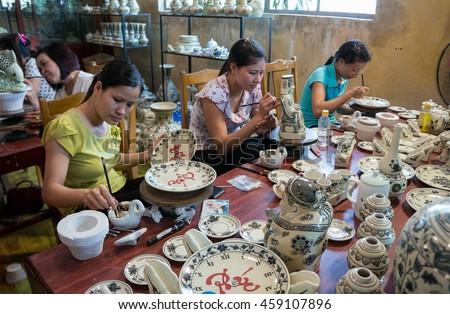HAI DUONG, Vietnam, July 25, 2016 workers working, Chu Dau pottery, Hai Duong Province, Vietnam