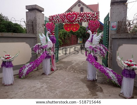 HAI DUONG, Vietnam, November 20, 2016 people, rural Hai Duong, Vietnam, decorated the gate, colorful. In the wedding day, their traditional beauty