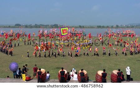 HAI DUONG, Vietnam, September 17, 2016 people, rural Hai Duong, dragon dance festival, commemorates the loss, for general Tran Hung Dao, at the river at first, Kiep Bac, Hai Duong