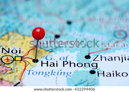 Hai Phong pinned on a map of Vietnam
