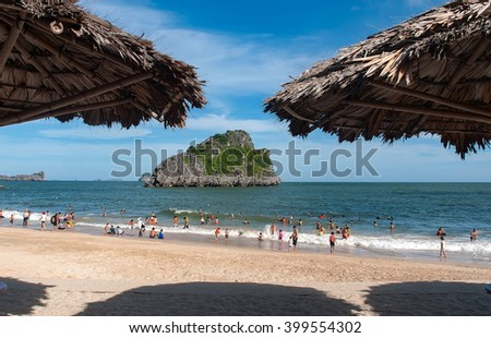HAI PHONG, VIETNAM, 18 July 2015 beach, sea, Cat Ba Island, Hai Phong Province, Vietnam