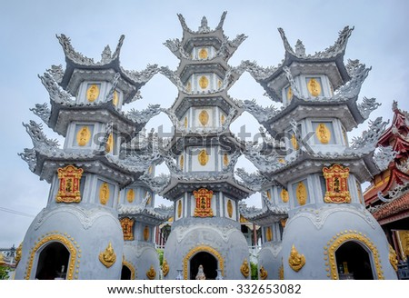HAI PHONG, VIETNAM, JULY 30, 2015 : Cao Linh Pagoda Details of towers. From 1967 to 1975, North vietnamese artillery had used this pagoda as a location the set the missiles firing at US aircraft.