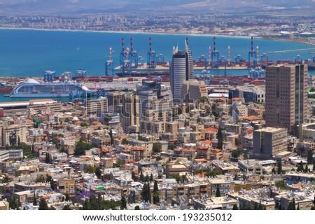 Haifa city view from the Bahai gardens, Israel  - stock photo