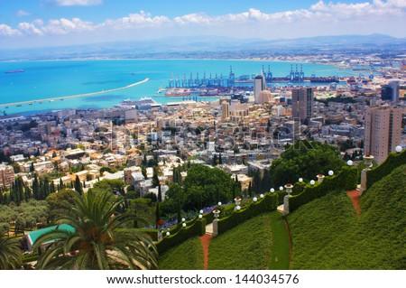 Haifa Israel city view from the Bahai gardens - stock photo