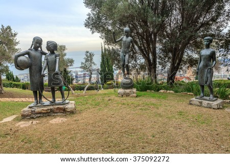 HAIFA, ISRAEL - JANUARY 07, 2016: Sculpture Garden in Haifa. The park has 29 sculptures which were donated by Ursula Malbin since 1978.