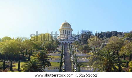 HAIFA, ISRAEL - JANUARY 6, 2017: The Bahai Gardens and Temple in sunlight, on the slopes of the Carmel Mountain (view from above), in Haifa, Israel