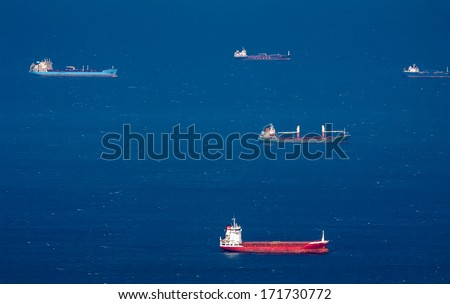 Haifa port - the largest seaport in Israel and one of the largest ports in the Mediterranean sea - stock photo