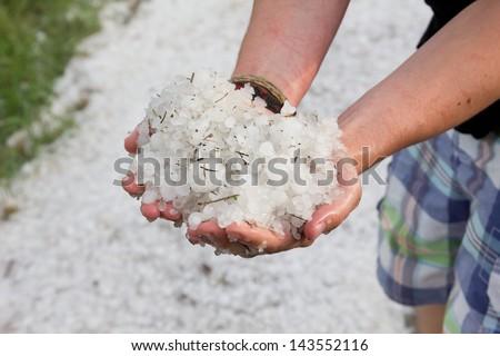 hail - stock photo
