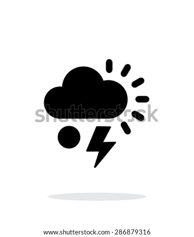 Hail with lightning weather simple icon on white background. - stock photo
