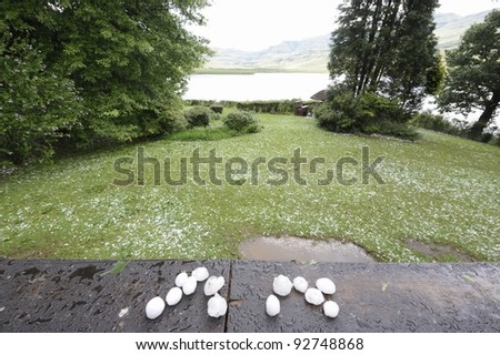 hailstones the size of golf balls and oranges from an afternoon thundershower in the unzimkulwana valley,drakensberg, south africa - stock photo