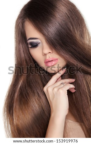Hair. Beautiful Brunette Girl. Healthy Long Brown Hair. Beauty Model Woman. Hairstyle. Fringe. Glossy Smooth Fashion Hair. Isolated on White Background.  - stock photo