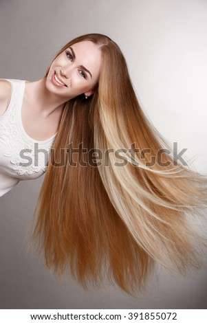 Hair Beauty Blonde Woman Portrait, Model with Long Healthy straight Blond Hair. Pretty woman with beautiful hair, Blond Hair Beautiful Woman with Straight Long Hair, isolated, studio, series - stock photo