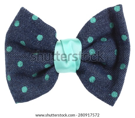 Hair bow tie blue with turquoise dots - stock photo