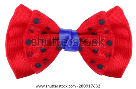 Hair bow tie red with blue dots - stock photo
