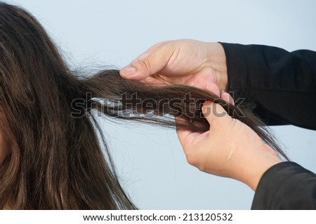 hair coloring,Hair Colouring in process,Woman gets new hair colour - stock photo