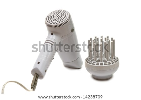 hair drier isolated on white - stock photo