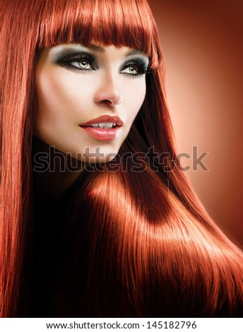 Hair. Healthy Straight Long Red Hair. Fashion Beauty Model over Brown Background. Vogue Style. Beautiful Glamour Woman Portrait with Professional Makeup. Makeover