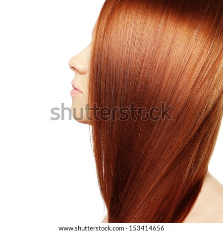 Hair. Healthy Straight Long Red Hair. White background - stock photo