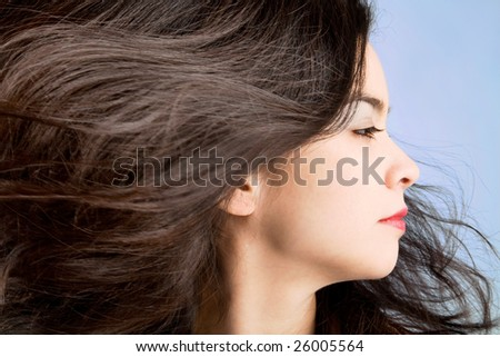 Hair in a Swirling Wind - stock photo