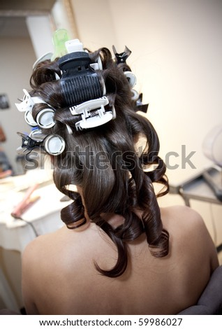 Hair in Rollers - stock photo
