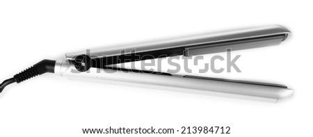 Hair iron isolated on white - stock photo