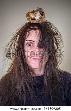 Hair Like Birds Nest Woman Messy Stock Photo (100% Legal Protection ...