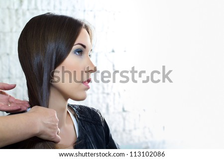 Hair making in saloon - stock photo