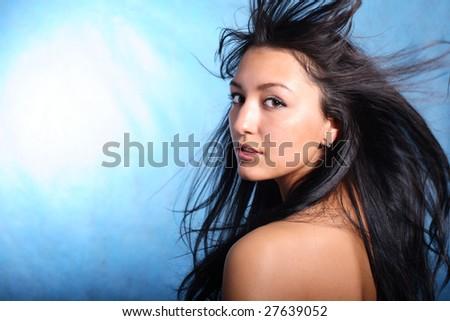 Hair motion. Model portrait - stock photo
