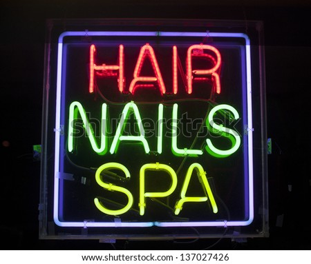 hair,nails and spa neon sign