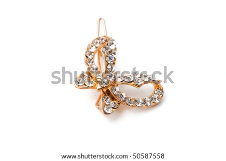hair-pin with stone on a white background - stock photo