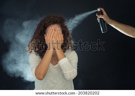Hair salon. Woman haircut. Spraying - stock photo