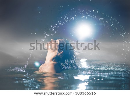 hair splash out of the water - stock photo