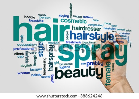 Hair spray word cloud concept with can style related tags - stock photo