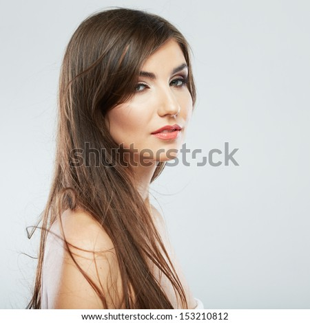 Hair style fashion woman portrait. Female model isolated portrait