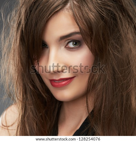 Hair style fashion woman portrait. studio isolated. close up smile female face.