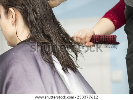 hair styling at hair salon - stock photo